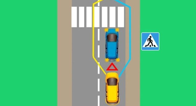 Разбираем ситуацию. Как объехать синюю машину и не нарушить ПДД?